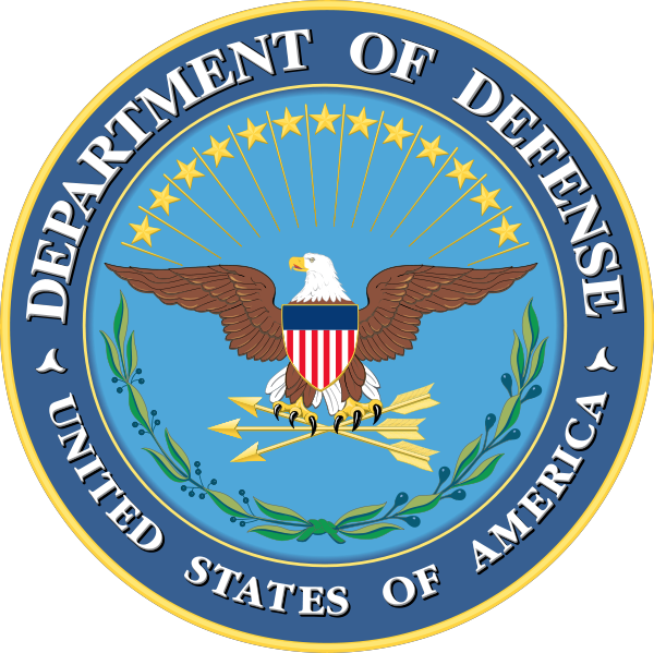 Department of Defense seal. Eagle holding arrows