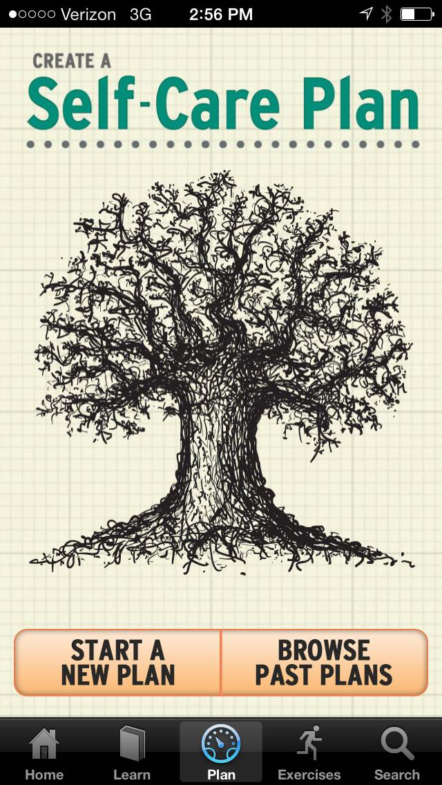 Graphic for starting a self care plan: start a new plan or browse past plans. with image of tree