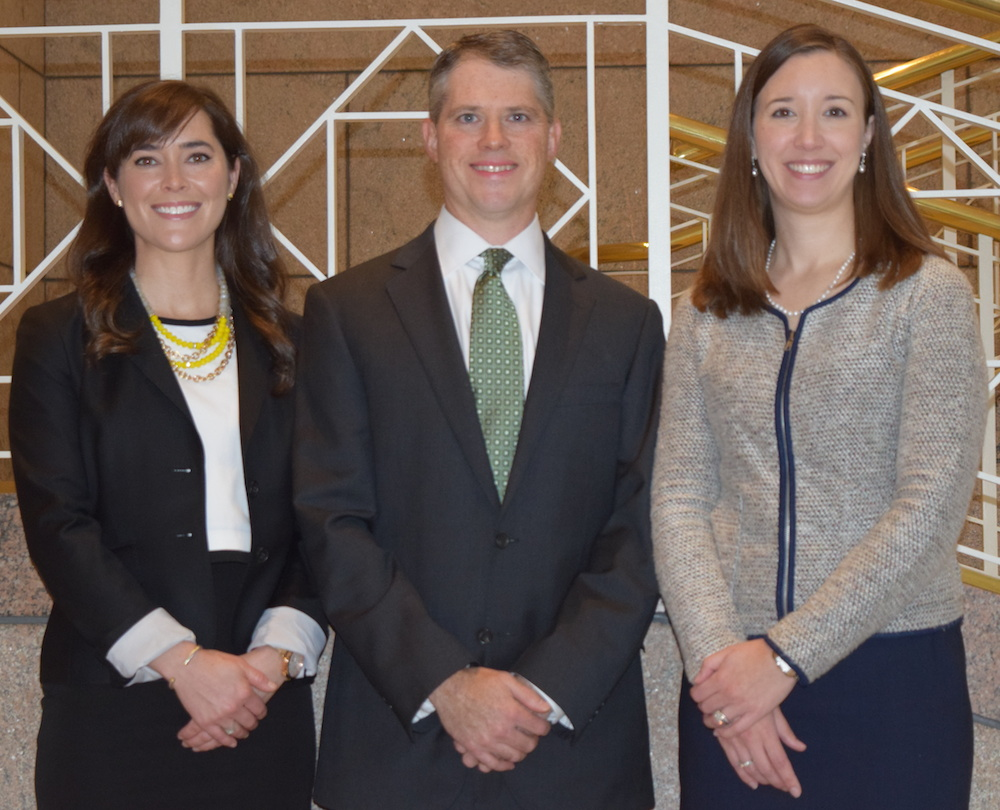 Portrait of Hogan Lovells lawyers Stacey McEvoy, Allen Hicks, and Jan Shanklin.