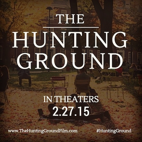 """The Hunting Ground. In Theaters 2.27.15. www.TheHuntingGroundFilm.com #TheHuntingGround"" Text overlayed on a picture of a college student sitting on a bench outside on campus in the fall"