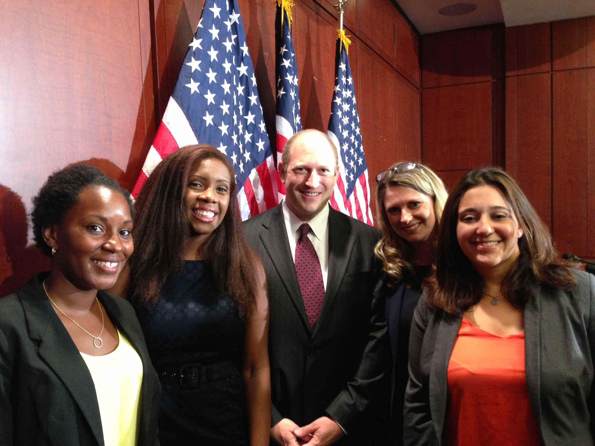 Tre'Shonda Sheffey, Wagatwe Wanjuki, Scott Berkowitz, Annie Clark, and Andrea Pino pose together at Capitol Hill press conference