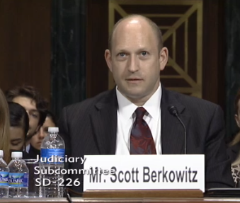 RAINN President Scott Berkowitz testifies at a Senate Judiciary Committee hearing.