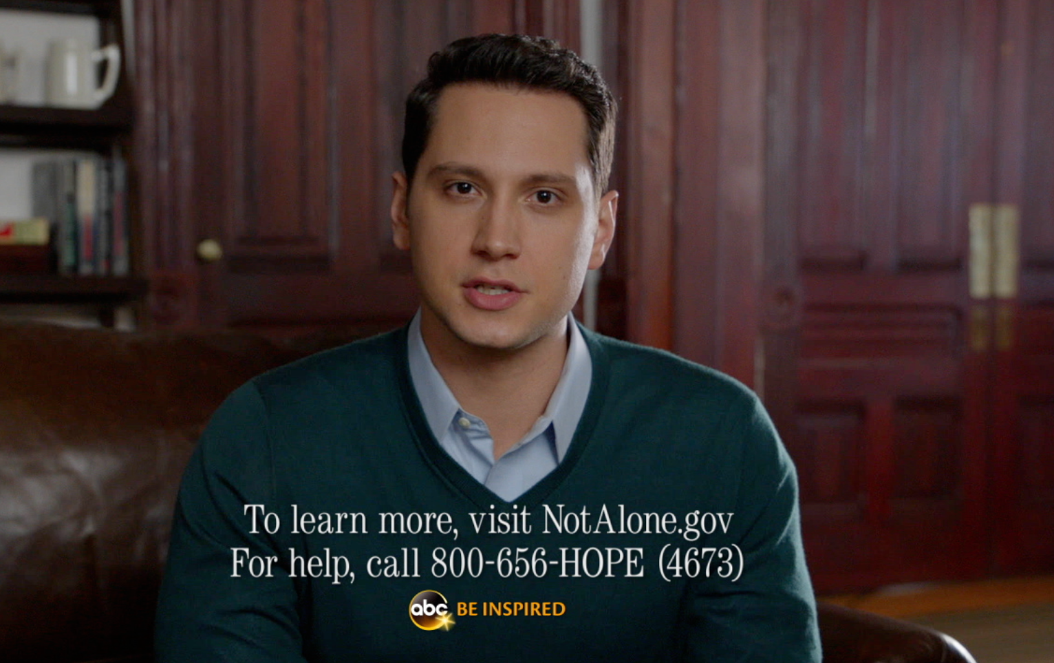 Television star Matt McGorry shares the National Sexual Assault Hotline number. Image links to a PSA in QuickTime.