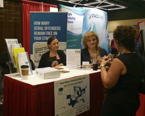 Natasha Alexenko and Helena Lazaro of Natasha's Justice Project host a booth at the National Conference of State Legislatures