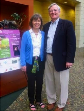 Child sexual abuse survivor Cathy McCall poses with her husband