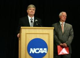 NCAA president speaks at a press conference