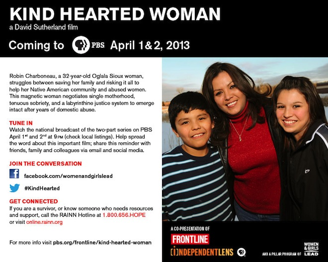 Poster for Kind Hearted Woman, a David Sutherland film, coming to PBS April 1 and 2, 2013