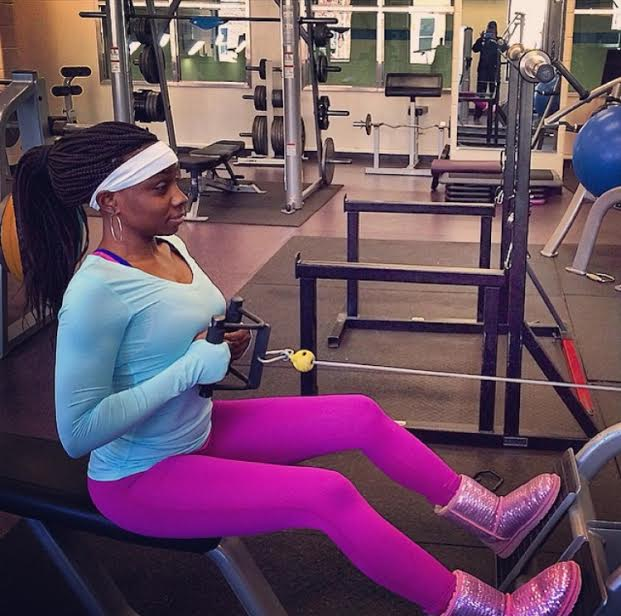 Survivor of sexual assault Kadijah exercises at the gym as a form of self care.