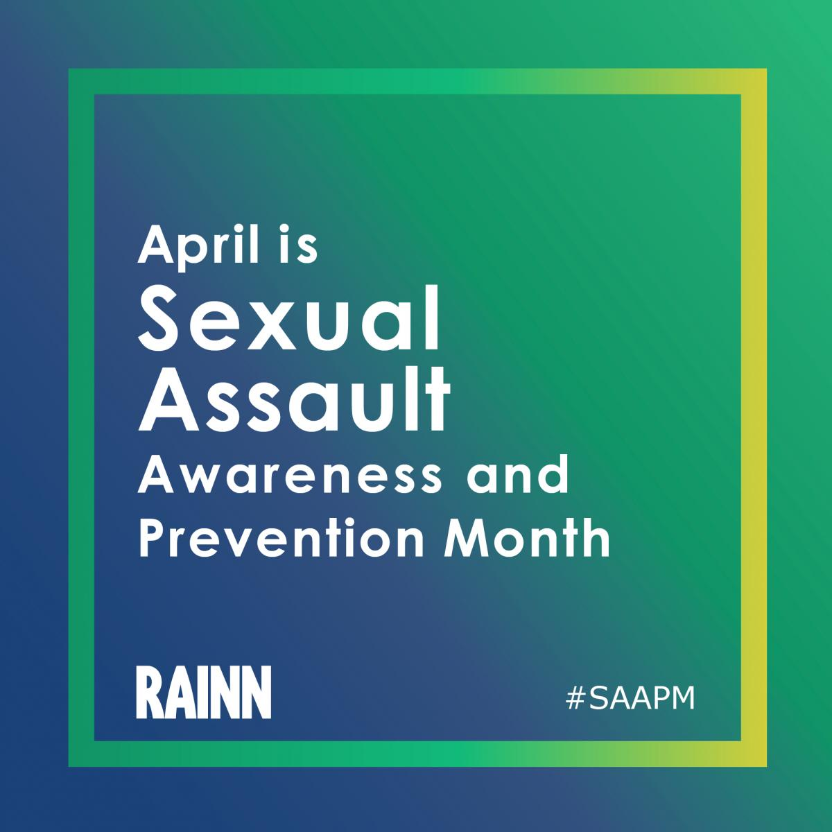 Downloadable graphic promoting Sexual Assault Awareness and Prevention Month in green and blue