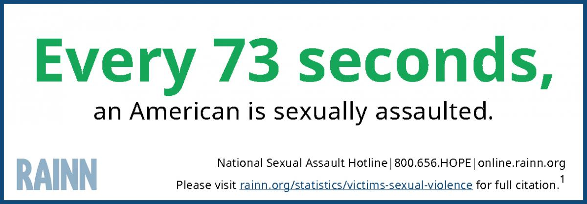 "Infographic reading ""Every 73 seconds an American is sexually assaulted."""
